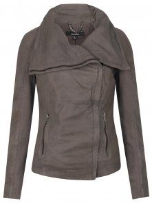 Muubaa Lenexa Cowl Leather Jacket in Sparkling Grey - Jackets from Muubaa UK Best Leather Jackets, Grey Leather Jacket, Cute Fashion, Look Fashion, Fashion Outfits, Fashion Ideas, Material Girls, Sweater Jacket, Passion For Fashion