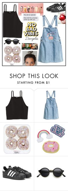 """No Bad Vibezzz"" by unicornfarts123 ❤ liked on Polyvore featuring H&M, adidas and Jura"