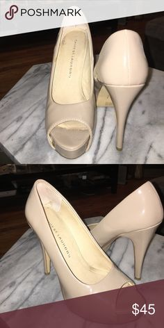 Patent leather peep toe nude pumps Chinese Laundry- Patent leather peep toe nude pumps; Size 8M; 4in heel Chinese Laundry Shoes Heels