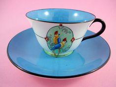 Painted Parrots with Deep Blue Center Crown Staffordshire Tea Cup & Saucer Set
