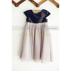Black Sequin Chiffon Flower Girl Dress