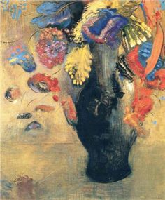 """Flowers - Odilon Redon  """"While I recognize the necessity for a basis of observed reality… true art lies in a reality that is felt"""". O. Redon"""
