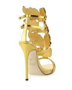 The Original Celebrity Shoes Site * Since 2005 Leather High Heels, Leather Sandals, Giuseppe Zanotti Shoes, Metallic Leather, Neiman Marcus, Stiletto Heels, Wings, Footwear, Ankle