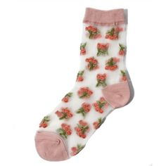 チェリーシースルーソックス ❤ liked on Polyvore featuring intimates, hosiery, socks, socks and tights, accessories, pink and pink socks