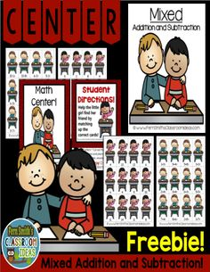 FREE Back to School Mixed Addition and Subtraction Center Game! This Quick and Easy to Prep Mixed Addition and Subtraction Center Game is Perfect for Review for Back to School. Perfect for a Make It Take It Activity for Meet the Parents, Open House, Math Night, etc. This math resource includes ~ A center cover, math center sign, four pages of playing cards, and student directions.