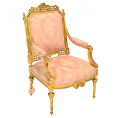 Louis XVI Style Giltwood Upholstered Fauteuil : Lot 1014