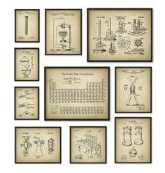 Chemistry Art Print Set of 10 - Periodic Table of Elements - Vintage Chemistry Patent - Laboratory Equipment -Chemistry Student Teacher Gift