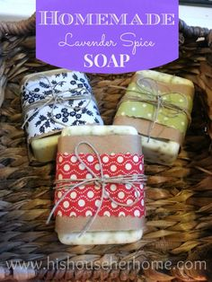 "Love the wrapping! ""Simple recipe for goat's milk glycerine soap. Plus, how cute is this wrapping for homemade soap: a layer of kraft paper (recycled paper bag), a layer of scrap fabric, and some baker's twine!"""