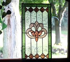 Victorian Green and Purple Stained Glass Panel by BerlinGlass
