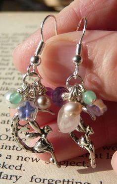 Pastel fairy moon charm earrings £8.50