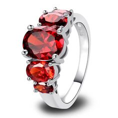 lingmei Free Ship New Fashion Rings Jewelry Pretty Silver Ring Inlay Garnet Gift For Women Size 6 7 8 9 10 11 12 13 Wholesale