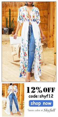 Shyfull Trendy X-long Floral Printed White Coat Trendy Fashion, Plus Size Fashion, Boho Fashion, Fashion Dresses, Womens Fashion, Fashion Trends, Fashion Ideas, Casual Outfits, Cute Outfits
