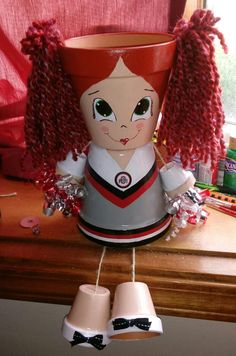 Buckeye Cheerleader von ange sliemers Buckeye cheerleader from ange sliemers # Flower Pot Art, Clay Flower Pots, Terracotta Flower Pots, Flower Pot Crafts, Clay Pots, Clay Pot Projects, Clay Pot Crafts, Diy Clay, Diy And Crafts