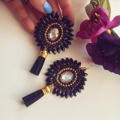 #black#tassel#earrings