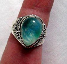 RING  Ornate    Teardropl  GREEN  MOONSTONE   925  by MOONCHILD111 https://www.etsy.com/shop/MOONCHILD111