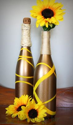 AWESOME WINE BOTTLE UPCYCLES FOR THE FALL. (Like this concept but maybe different colors)