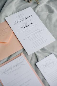 Letterpress, Wedding Invitation, Wedding Stationery, Silver Foil, Blind Emboss, blush pink wrap for spring and summer weddings