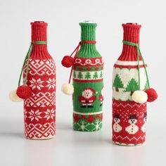 One of my favorite discoveries at WorldMarket.com: Holiday Sweater Wine Bottle Covers Set of 3