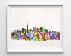Shanghai Skyline Print Watercolor China Poster by InkistPrints