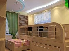 Interesting design solution for a kids' bedroom - both desks are elevated on a deck, with two pull-out beds right under it. Great space saving solution for a small space. Pull Out Bed, Creative Colour, Kid Beds, Space Saving, Kids Bedroom, Small Spaces, Cool Designs, Room Decor, Furniture