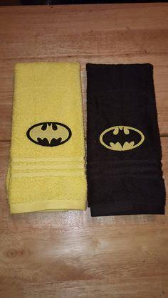 Batman hand towel for kitchen or bathroom - Batman Clothing - Ideas of Batman Clothing - Batman hand towel for kitchen or bathroom by SewSweetbyKassie Batman Room, I Am Batman, Batman Stuff, Bathroom Towel Decor, Bathroom Kids, Bathrooms, Batman Bathroom, Batman Collectibles, Batman Outfits
