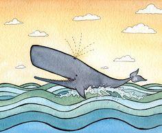 Whale Art   Nursery Art  Giclee Print  8x10   by DanielleVGreen, $16.00