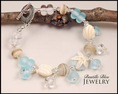 Beach n Shell Bracelet - BBL Handmade Lampwork Glass Beads SRA Teal Etched Shells