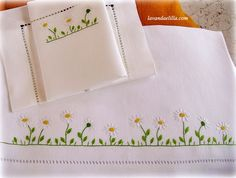 Embroidered Daisy border for linens, or? Flower Embroidery Designs, Embroidery Suits, Embroidery Needles, Embroidery Fashion, Hand Embroidery Designs, Ribbon Embroidery, Embroidery Patterns, Baby Sewing Projects, All Free Crochet