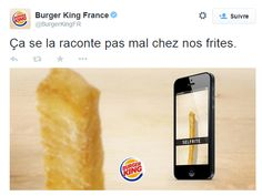Great Twitter post from Burger King à Paris, France / Sympathique post Twitter de Burger King à Paris, France https://twitter.com/BurgerKingFR/status/542000776336244737/photo/1