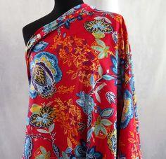 Tissu indien coton au mètre -rouge fleurs stylisees : Tissus Habillement, Déco par akkacreation