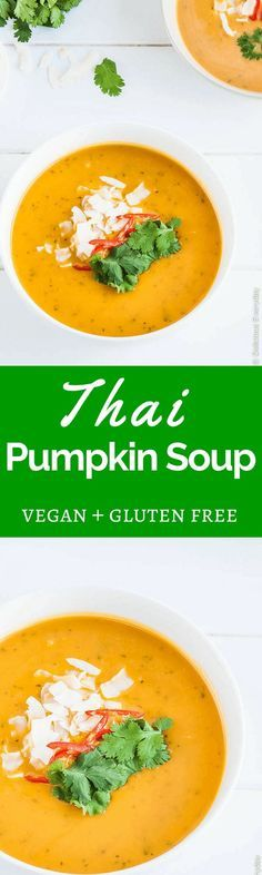 Thai-Style Pumpkin Soup with Coconut Milk - This easy vegan homemade soup is on the table in under 30 minutes.