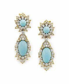 A pair of turquoise and diamond ear pendants, by Van Cleef & Arpels #VanCleef #ChristiesJewels