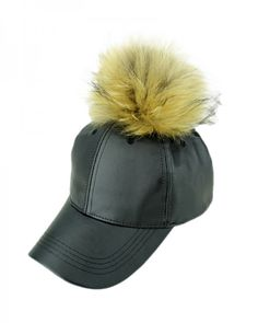 D&Y PU Baseball Cap 1 with real raccoon fur pom pom hat - UNISEX