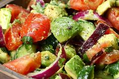 This Salad Is Going To Make You Feel So Good About Life After You Eat It food recipes dinners simple Cucumber, Tomato, And Avocado Salad Recipe by Tasty Vegetarian Recipes, Cooking Recipes, Healthy Recipes, Meal Recipes, Delicious Recipes, Recipies, Avocado Salad Recipes, Grape Tomato Recipes Salad, Eating Clean