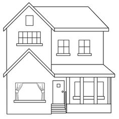 Best home drawing house coloring pages ideas, Baby Room drawing Simple House Drawing, House Drawing For Kids, Art Drawings For Kids, Easy Drawings, How To Draw House, House Colouring Pages, Coloring Pages For Kids, Coloring Books