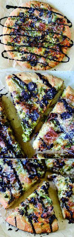 asparagus, bread, cheese, healthy, mushroom, pizza, prosciutto, recipes