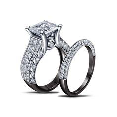 Two Tone 925 Sterling Princess White Diamond Matching Bridal Set Ring Size 6 #AdorableJewelry