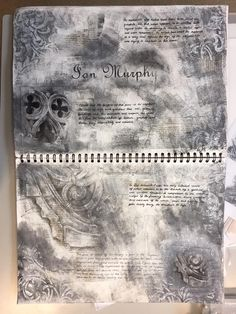 So before our workshop with Ian Murphy we produced artist research pages, gothic window studies and a pastiche of Ian& work. A Level Art Sketchbook, Sketchbook Layout, Sketchbook Inspiration, Sketchbook Ideas, Sketchbook Drawings, Art Sketches, Sketching, Art Drawings, Artist Research Page