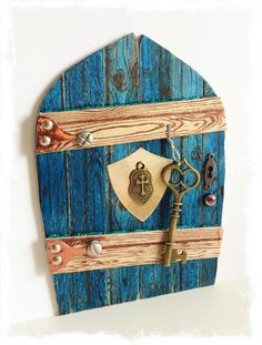 NEW Handcrafted Knight Warrior Fae Door / by TraceyGrundyDesigns Blue Point, Gnome House, Miniature Gardens, Fairy Doors, Gnomes, Knight, Decorative Boxes, Miniatures, Houses