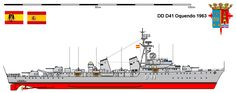 Perfiles navales. D-41 Oquendo 1963,la Clase Oquendo fue una serie de tres destructores construido para la Armada Española. Los nueve destructores inicialmente proyectados de la clase Oquendo fue el proyecto más ambicioso afrontado por los programas de construcción naval de la postguerra en España