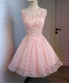 Pink Lace Homecoming Dresses, A-Line Homecoming Dresses, Cute