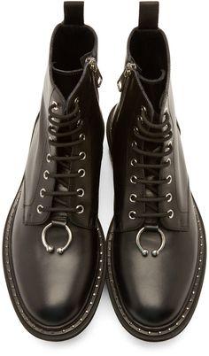 Neil Barrett Black Leather Semi Vitello Boots