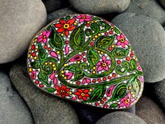 Bird of Paradise  / Painted Rock / Sandi Pike Foundas / Cape Cod. $48.00, via Etsy.