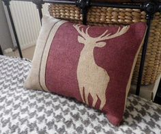 """Hand printed in Wiltshire inspired by The Highlands, our Great parks and Celtic mythology and the Jura Forests, called """"the cromie stag,"""" Gaelic for """"crooked."""" In Jura only do these stags exist; how they got there or whence they came no one knows, but there they have been from time immemorial, and confident I feel either that they are a distinct race, or that some stag from foreign lands once managed to get to Jura in days gone by This is a majestic cushion based on a white stag. Thought…"""