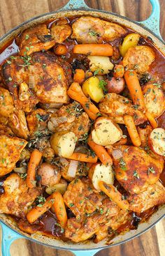 One-Pot Paprika Chicken Thighs recipe, with potatoes and carrots #onepotmeal #chicken #chickenpaprika
