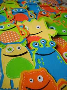 Cupcake Toppers Monster Colorful Dozen Made to Order. $15.00, via Etsy.