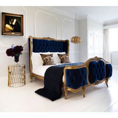 The Versailles Sacre Bleu Velvet Upholstered Bed (King) By The French Bedroom Company, available on Kuldea French Furniture, Home Furniture, Furniture Design, Furniture Dolly, Furniture Movers, Furniture Outlet, Furniture Stores, Furniture Mattress, Cottage Furniture