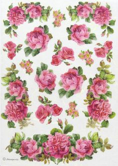 Rice Paper for Decoupage, Scrapbook Sheet, Craft Paper Roses and Garland