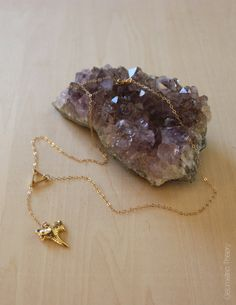 24k Gold Plated Shark Tooth Lariat Petite by GeometricTheory