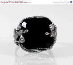 SALE Vintage Black Onyx Estate Ring Sterling by WarrenExchange